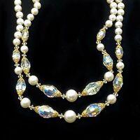 Vintage Bib Necklace Sparkling Aurora Crystal Beads Pearls Gold Filigree