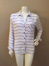Rails GORGEOUS!!! White/Gray Striped 100% Rayon Flowy Button Front Shirt Sz S