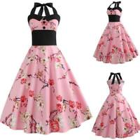 Sleeveless women halter Dress Summer Party Retro Evening Dresses Swing floral