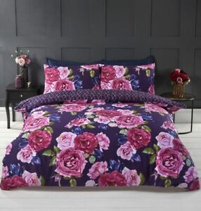 Mia Duvet Cover Set, large floral flowers geometric reverse purple pink, King