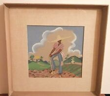 OLD Listed Artist Fine Art PAINTING vintage original artwork Mid Century era