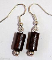 dark chocolate coloured wooden bead silver tone earrings