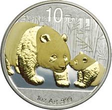 1 Oz plata 10 yuans china panda 2011 con oro aplicación Gilded
