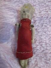 """All bisque Penny doll with satin dress and bonnet pin jointed arms 2.5"""""""