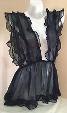$198 Victorias Secret DESIGNER COLLECTION SILK Chiffon Ruffle Babydoll M N1484