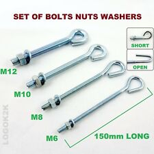 STRAINING EYE BOLTS NUTS WASHERS M6 M8 M10 M12 ZINC PLATED WIRE FENCING TENSION