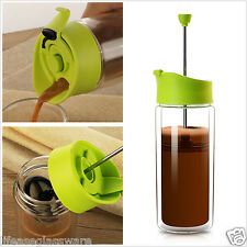 Double Wall Insulated Glass Travel Mug Tea Cup French Press Coffee Maker 450ML