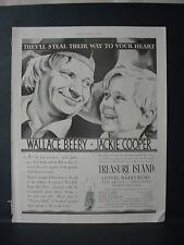 1934 Treasure Island Movie Wallace Beery Jackie Cooper Vintage Print Ad 10984