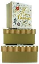 Set di 3 Natale Medio Quadrato nidificati Scatole Regalo-Moderno Oro Natale Fiocchi di neve