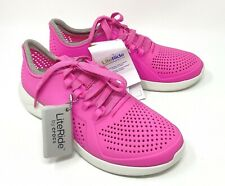 CROCS LITERIDE PACER Womens size 7, 8, 9, 10 Electric Pink/White NEW