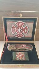 Folding Knife and Flip top Lighter Gift Set - Fire Department 005