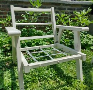 Vtg Solid Redwood Outdoor Lounge Chair Chairs Patio Deck Pool Porch Lawn White 2