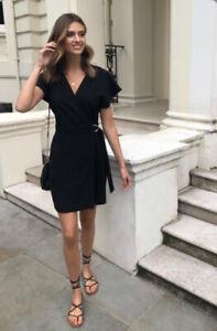 Lipsy Size 8 Black Ruffle Wrap Front Cold Shoulder Dress BNWT