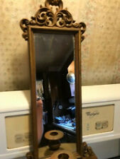 ANTIQUE BURWOOD WALL SCOUNCE W/ MIRROR & CANDLE HOLDER