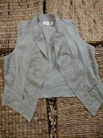 "CHICO""S SIZE 3 BEIGE TAN LACE CROCHETED VEST SO CUTE"