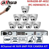 4K Dahua 8CH 8POE NVR 6MP Bulit-in MIC H.265 IR CCTV Security Camera System Kit