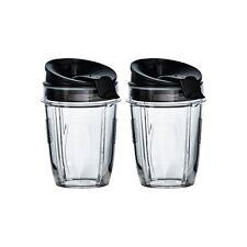 2 x Small 300ml Nutri Ninja Cups with Sip & Seal Lids & Shaker Lid