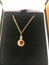 18ct Gold Ruby & Diamond Pendant 14ct Chain Beautiful/ Stunning