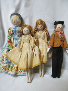 Antique Wooden Peg Doll Family of 4 - Hand Painted, Carved German, Dressed