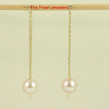 14k Solid Yellow Gold Threader Chain; AAA Pink Cultured Pearl Drop Earrings TPJ