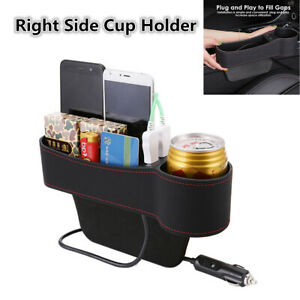 Right Side Car Accessories Seat Slit Pocket Storage Organizer Box Dual USB Port