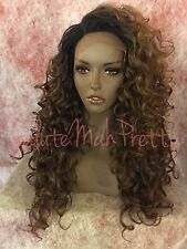 100% Human Hair Blend Realistic Part Long Curly Lace Front Wig