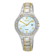 Seiko SUT282P9 Ladies Swarovski Crystal Set SOLAIRE DATE Robe Montre