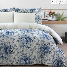 Eugene Luxury 100% Cotton Floral Buttons Quilt Duvet Cover Bedding Set Grey Blue