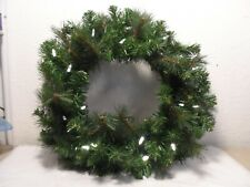 19 INCH GREEN PINE WREATH WITH WHITE LIGHTS AND 6 HOUR TIMER