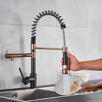Pull Down Kitchen Faucet Sprayer Rose Gold & Bronze Sink Tap Single Handle Mixer
