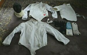 LOT of FENCING SPORTING EQUIPMENT 3 SHIRTS JACKETS HELMET GLOVES