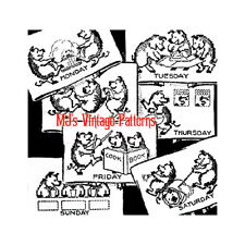 Vintage Embroidery Pattern ~ Three Little Pigs DOW