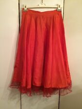 Vintage 1940's Ladies Orange Silk w Mesh Ruffle Full Circle Petticoat Size S