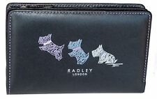 RADLEY donna nero pelle patta Wallet all-around Borsetta con zip tasche