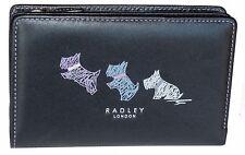 RADLEY Women's Black Leather Flap Wallet All-Around Zip Purse Pockets