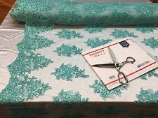 Wholesale fabric / By Roll 20 Yard / Lace Fabric Embroidered With Sequins Aqua