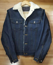 NWT Naked & Famous Sherpa Lined Left Hand Twill Raw Denim Trucker Jacket Size S