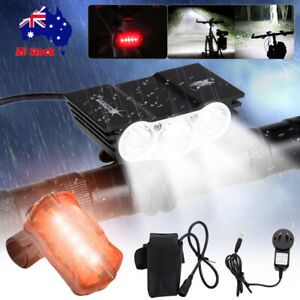 LED Mountain Bike Lights Bicycle Torch Front & Rear Lamp Rechargeable Battery
