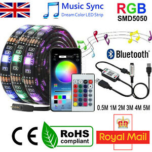 LED STRIP LIGHTS 5050 RGB COLOUR CHANGING TAPE CABINET KITCHEN TV USB BLUETOOTH
