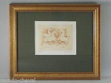 LITHOGRAPHIE EQUESTRE SIGNEE et ENCADREE, P. de Chabot, 59/99, chevaux