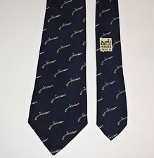 Authentic Vintage Hermes Tie 100% Silk Dueling Pistols Navy Blue w Green 3 1/4""