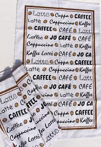 3x Geschirrtücher Kaffee Kracht Küche Tücher Kaffeebohnen Caffee Latte Cafe Deko