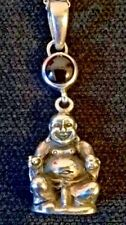 SOLID SILVER 925 BUDDHA PENDANT WITH GEM STONE & 935  SILVER CHAIN