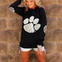 O Neck Long Sleeve Tops For Women Bear Paw Print Patchwork Loose Hip Hop T-Shirt