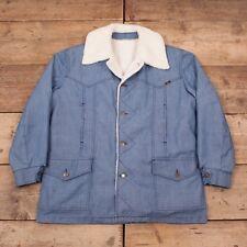 """Vintage pour homme Lee Storm Rider 1970 s en coton bleu Sherpa Veste Large 44"""" R9988"""