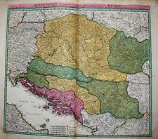 c1730 Jugoslawien Dalmatien Ungarn Kolorierte Kupferstich-Landkarte Homann