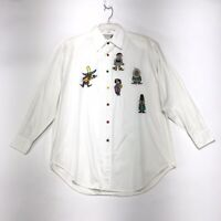 Westbound Casual VTG Embroidered Shirt Womens Sz M Medium Off White Long Sleeve