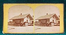 TRAIN DEPOT AND CARRIAGE STEREOVIEW - LANCASTER, MASS.