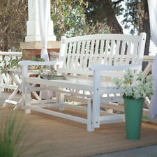 Outdoor Porch Rocker Glider White Curved Back Wood Loveseat Patio  4 Foot