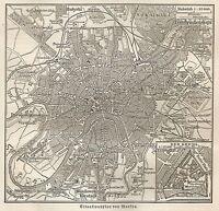B0979 Russia - Moscow - Carta geografica d'epoca - 1890 Vintage map
